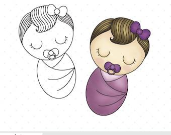 Sleepy Baby Girl - Digital Stamp