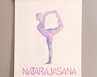 Yoga Print, Yoga Art, Yoga Watercolor, Dancer Yoga, Dancer Pose, Yoga, WaterColor Art, Namaste, Natarajasana, Figure Silhouette