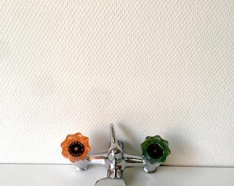 Bathtub faucet, water tap, Onec Migori faucet, vintage bathroom, 70's faucet, 70's decoration, orange and green water tap, vintage bath