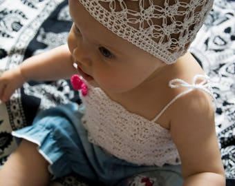 White lace baby hat White lace baptism hat Baby hats for girls summer Baby hats for girls with flower Baby sun hat Summer outdoors baby