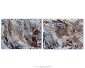 Set of Two Paintings - Abstract Painting - Acrylic Painting on Canvas - Midsize Textured Painting - Contemporary Art - Modern Art Home Decor