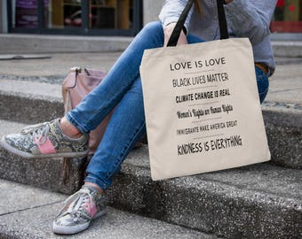 Liberal Tote Bag   Black Lives Matter   Black Lives Matter Tote   Climate Change is Real   Women's Rights are Human Rights   Feminist Tote