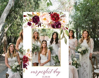 "Wedding Photo Booth Frame Wedding Photo Prop Floral Wedding Sign Printable Wedding Photo Frame Digital Wedding Portrait, Marsala 24 x 36"""