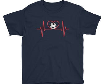 Soccer Heartbeat Soccer Player Fan Practice Soccer Coach Soccer Mom Youth Kids Boys Girls Elementary School Shirt