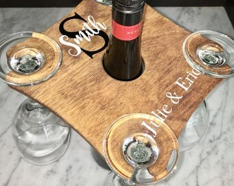Personalized wine caddy, family name gift, wedding gift, wine holder, family name wine caddy, wine glass holder, wooden wine caddy