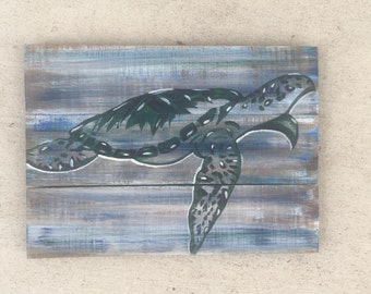 Sea turtle painting, Turtle art, Marine Conservation art, Beach art, Patio art, Ocean Art, Coastal Decor