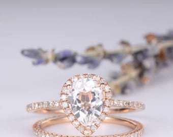Pear Shaped Rose Gold Engagement Ring Set Bridal Set White Topaz Birthstone Ring Anniversary Promise Eternity Stacking Wedding Band Women