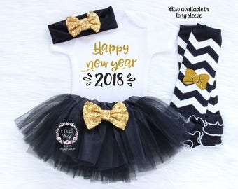 Happy New Year 2018, Baby First New Year Outfit Girl, Baby 1st New Year Outfit, Baby New Years Outfit, Baby Girl First New Year Girl HNY7
