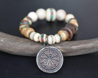 Mala Beads + Dharma Wheel