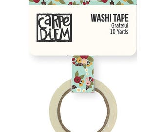 Floral Washi Tape, Grateful, Simpler Stories, Vintage Blessings collection, Carpe Diem, Washi Tape, Autumn washi tape, Fall washi Tape