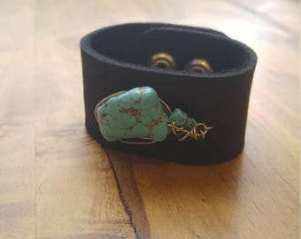 Leather + Turquoise + Stainless Steel Freeform Cuff Bracelet