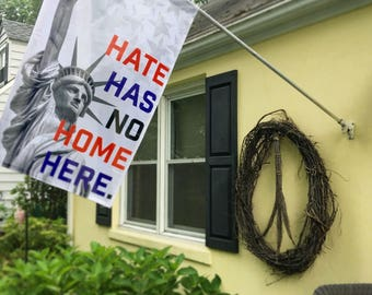 Hate Has No Home Here American Flag // Wall Hanging // Statue of Liberty // Resist // House Flag // Porch Decor // Love Trumps Hate