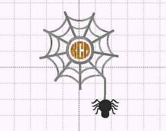 Spider Web Circle Monogram Applique Applique - INSTANT DOWNLOAD - Embroidery Design - Size 5x7  - Halloween - Boy - Girl - Fall
