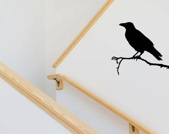 Crow on a Branch Decal   Halloween Decal   Halloween Wall Decal   Wall Decal   Crow Halloween Wall Decal   Crow Decal   Fall Decal   Autumn