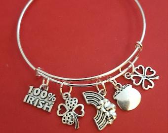 Silver Saint Patricks Day Themed Charm Bracelet