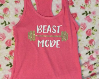 Beast mode shirt, workout tank, exercise tank, workout tanks for women, funny workout shirt, exercise shirt, exercise clothing, gift for her