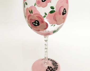 Vintage Floral- Handpainted Wine Glass