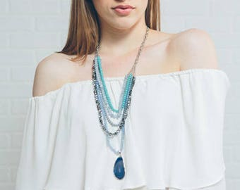 Stella Beaded Necklace | Blue