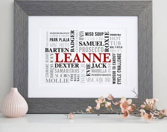 Personalised Word Cloud Typographic Art
