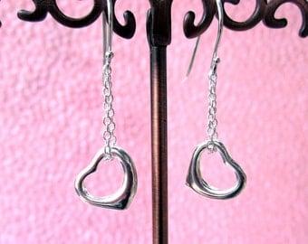 Beautiful Modern Heart Charm Earrings Sterling Silver