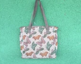 Vintage Butterfly Zip Carpet Tote Bag