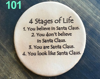4 Stages of Life - Funnies Leather Coasters