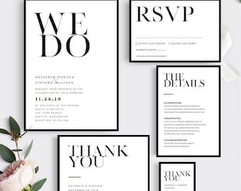 Printable Wedding Invitation Template. Modern Wedding Invitation Set. Printable Wedding Invitation Set, Minimalist Wedding Invitations Set