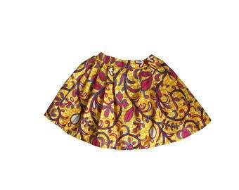 African Girls Skirt with Pleats, Ankara Kids Skirt, Flowers