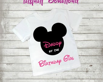 Mickey Mouse, Daddy Of The Birthday Girl, Father, Mickey, INSTANT Download, Printable Iron On Transfer, PNG, Red , Digital, Disney, T shirt