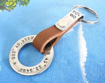 Coordinates Keychain,Coordinate Keychain, Personalized Leather Keychain,Mens Personalized leather keychain,Latitude Longitude GPS Keychain