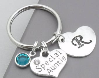 Special auntie heart initial keyring | special auntie keychain | personalised auntie keyring | auntie gift | letter | birthstone
