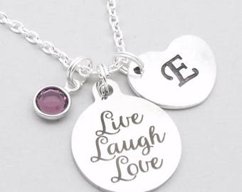 Live Laugh Love heart initial necklace   personalised necklace   live laugh love jewelry   gift