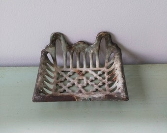 Vintage French enameled cast iron wall SOAP