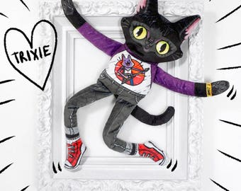 Trixie the Wildcat goes to a Rock Show - Soft minky cat plush doll with vibrant colours