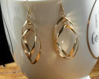 Earrings,Gold Earrings,Gold Dangle Earrings,Gold Twist Earrings,Chunky Earrings,Long Earrings