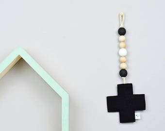 Black and White Nursery Decor - Monochrome Nursery - Scandinavian Nursery Cross - Wall Decor for Nursery - Gender Neutral Nursery Decor