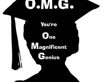 7x5 Digital Print - Congratulations on Graduation - 'One Magnificent Genius' Female Silhouette - Instant Download (FRAME NOT INCLUDED)