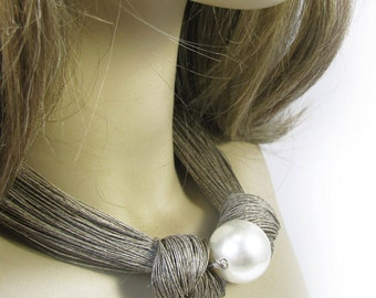 Linen Necklace, Necklace of threads, pearls , Linen cord, Natural necklaces,Natural style, Eco style,  textile necklaces, Organic Necklace,