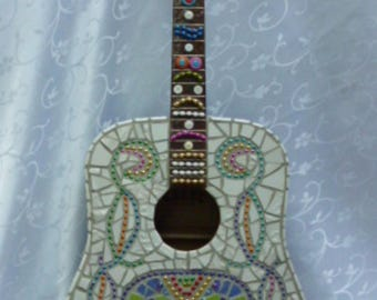 Sugar Skull, Day of the Dead Mosaic Guitar