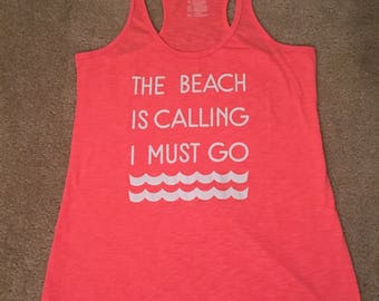 The Beach is Calling I Must Go Summer Pink Tank Top