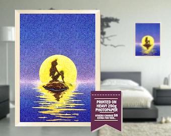 Little Mermaid print, fan art, little mermaid poster, GIFT, little mermaid movie, 60's, impressionist drawing design, 60s, vintage, 1967
