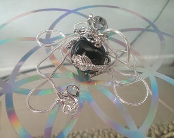 Black Agate crystal Dragon Ball necklace with 925 silver chain