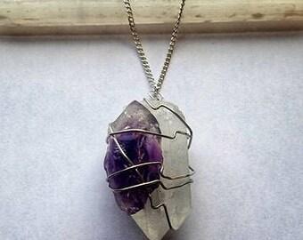 Quartz Necklace Wire Wrapped Quartz Necklace Amethyst Necklace Wire Wrapped Amethyst Crystal Necklace Quartz Crystal Amethyst Crystal