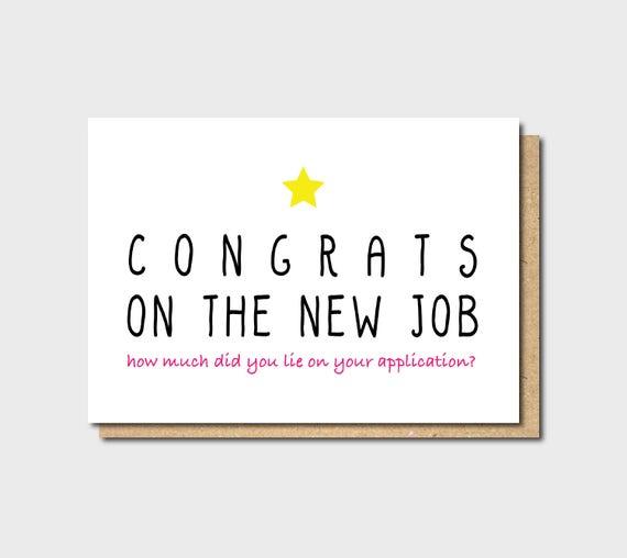 Funny new job card Funny Farewell Card Funny Good Luck card