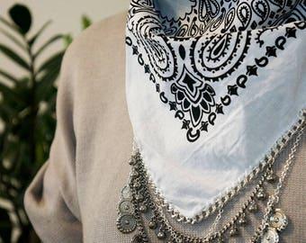 White Bandana with Silver Chain and charms   Coachella Clothing   Chain Bandana   Festival   Bohemian Fashion   80s 90s