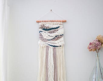 Peacock Jade wall hanging \\ Weave \\ MTO \\ hand woven wall art \\ tapestry \\ nursery decor \\ woven wall hanging \\ neutral home decor