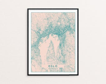 Oslo Blush Pink City Map Print, Clean Contemporary poster fit for Ikea frame 50x70cm, gift art him her, Anniversary personalized
