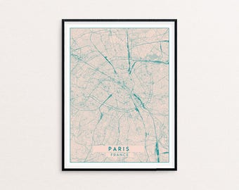 Paris Blush Pink City Map Print, Clean Contemporary poster fit for Ikea frame 50x70cm, gift art him her, Anniversary personalized