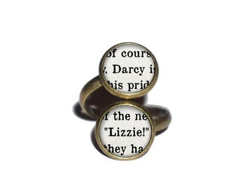 Darcy and Lizzie Ring, Pride and Prejudice Ring, Jane Austen Jewelry, Book Page Ring, Literature Ring, Book Lover Literary Ring