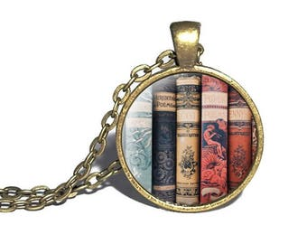Book Necklace, Librarian Pendant, Gift for Readers, Librarian Keychain, Literature Necklace, Book Spines, Book Lover Necklace